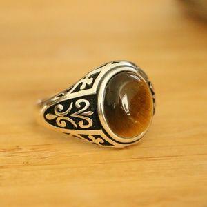 925 S S Men's Rings Tiger Eye stone